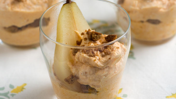 Ginger and Wine Poached Pears with Pumpkin Whipped Cream