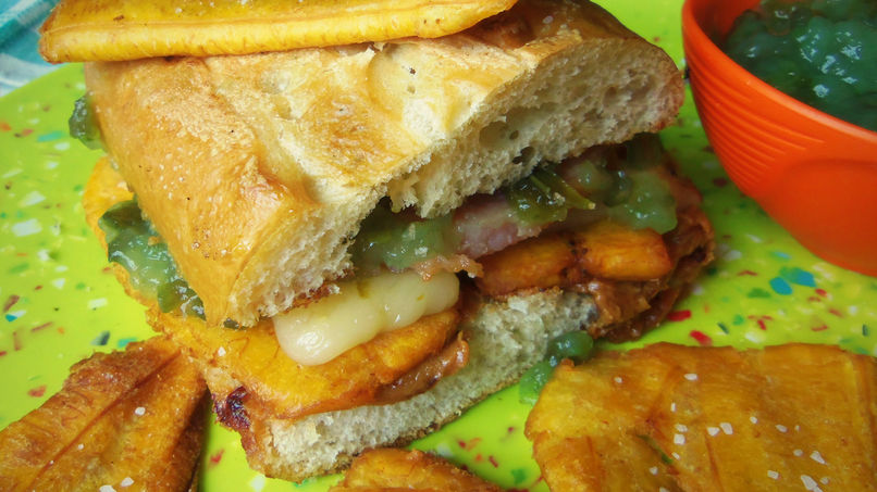Peanut Butter and Jelly Sandwich with Smoked Pork and Fried Plantains