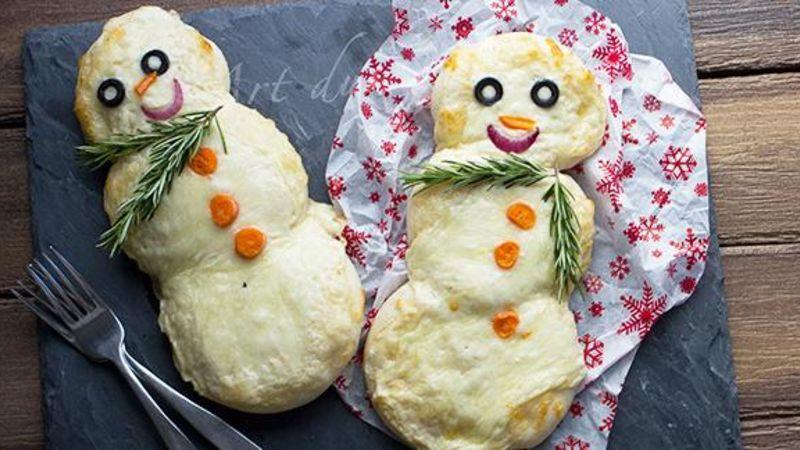 Mini Snowman Pizzas