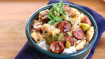 Sausage, Chicken, and Shrimp Gumbo