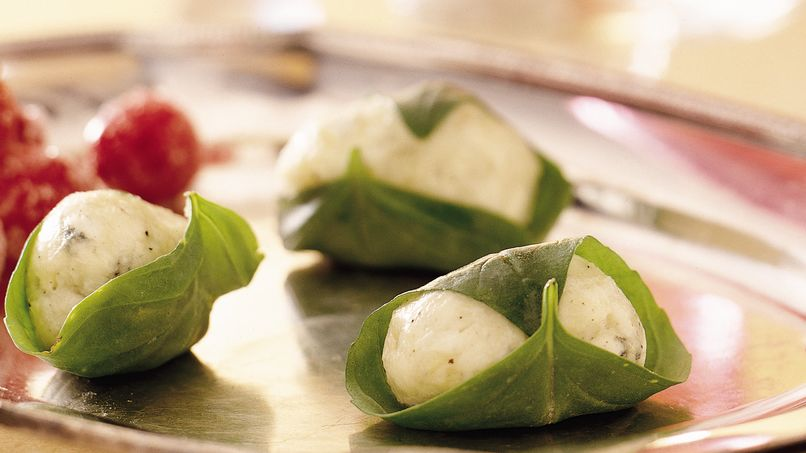 Fresh Basil-Wrapped Cheese Balls