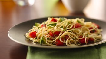 Angel Hair Pasta with Avocado and Tomatoes