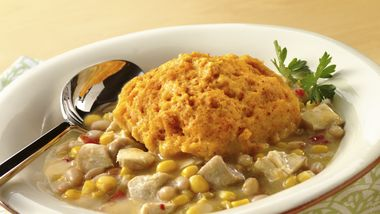 Chicken Chili with Cornbread Dumplings