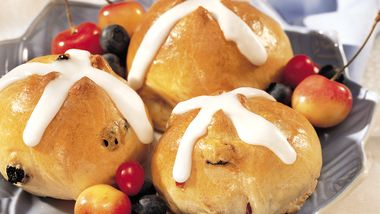 Cherry-Berry Hot Cross Buns