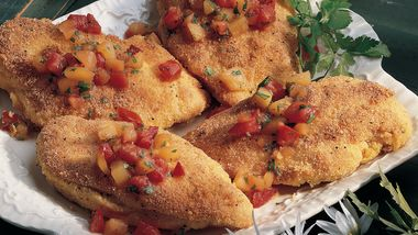 Cornmeal Chicken with Peach Salsa