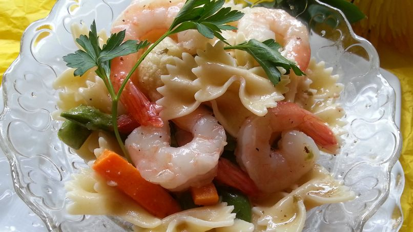 Farfalle and Vegetable Scampi