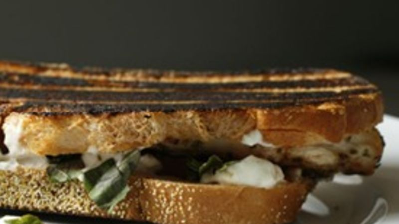 Grilled Chicken, Goat Cheese, Tomato and Basil Panini