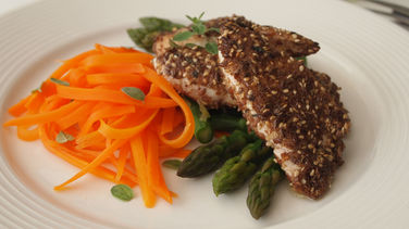 Flax Seed Crusted Chicken Tenders Over Veggies