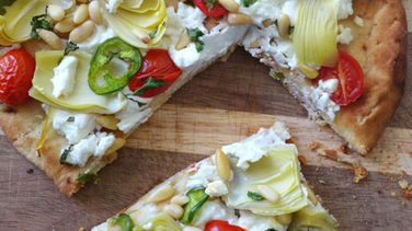 Crispy Goat Cheese and Artichoke Pizza