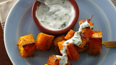Butternut Squash Kabobs with Spicy Lemon Dip