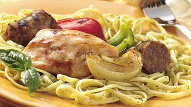 Grilled Chicken, Sausage, Onions and Peppers over Linguine