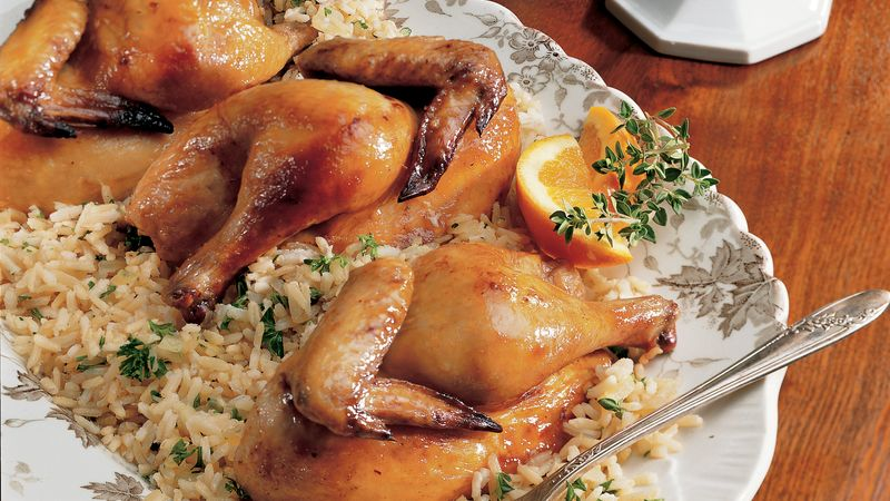 Cornish Hens with Gingered Brown Rice