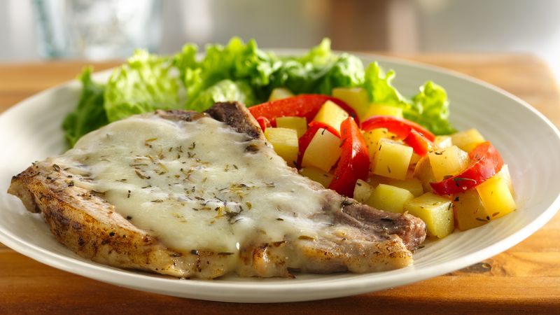 Cheesy Italian Pork Chops with Vegetables