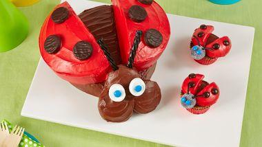 Ladybug Cake and Cupcakes