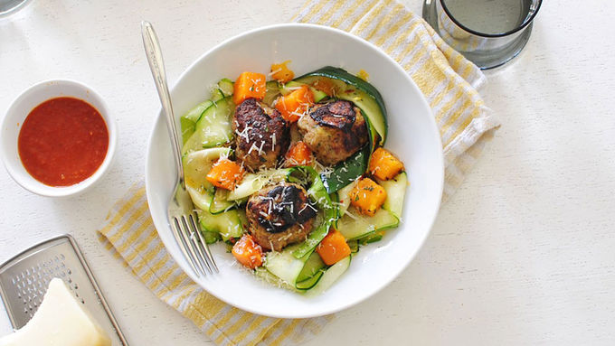 Zucchini Noodles and Turkey Meatballs