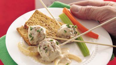 Creamy Roasted Garlic and Onion Meatballs