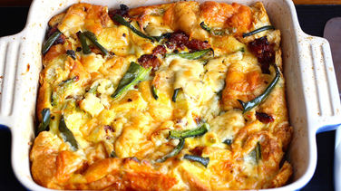 Bread, Chorizo and Poblano Strata