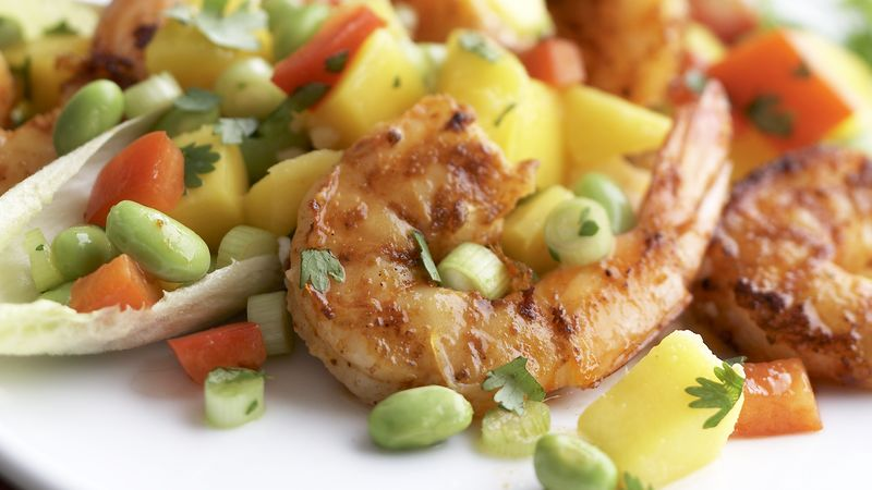 Skinny Cajun Shrimp with Mango-Edamame Salsa recipe from ...