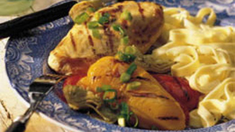 Grilled Chicken with Peppers and Artichokes