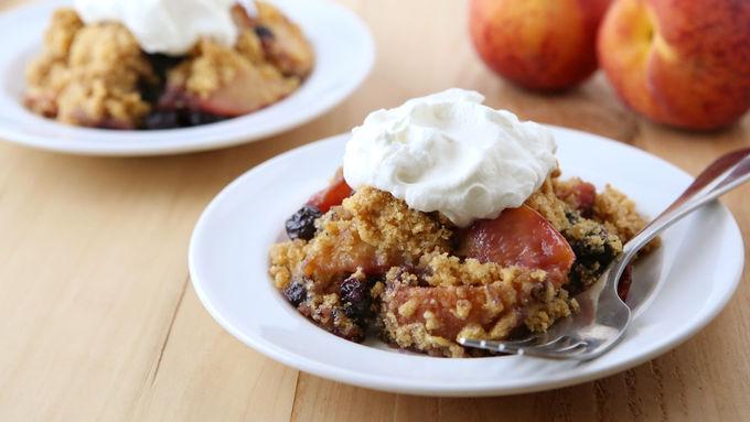 Slow-Cooker Peach-Blueberry Cornbread Cobbler