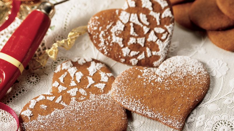 Stenciled Gingerbread Hearts
