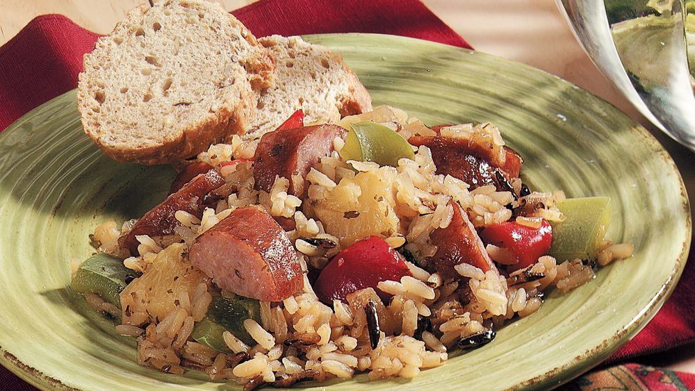 Hawaiian Sausage and Rice Bake