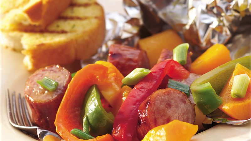 Grilled Maple Sausage and Butternut Squash Foil Packs