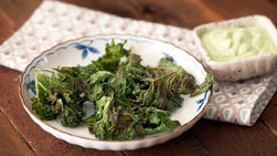 Spicy Kale Chips with Yoplait® Cilantro Lime Sauce