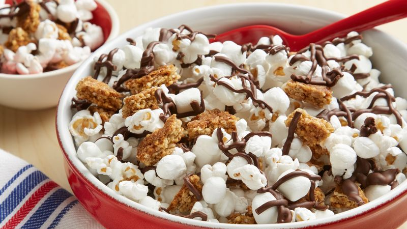 Smores Popcorn Snack Mix recipe from Betty Crocker