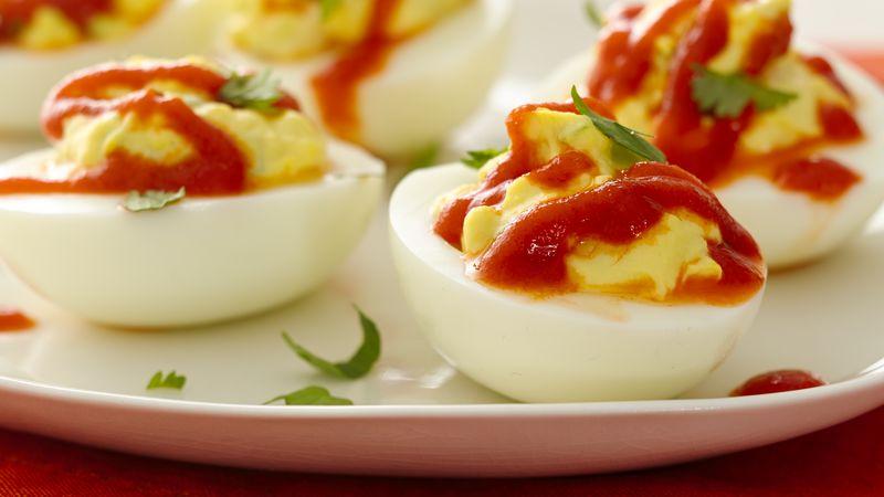 Spicy Sriracha Deviled Eggs