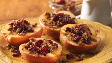 Microwave Baked Apples with Granola