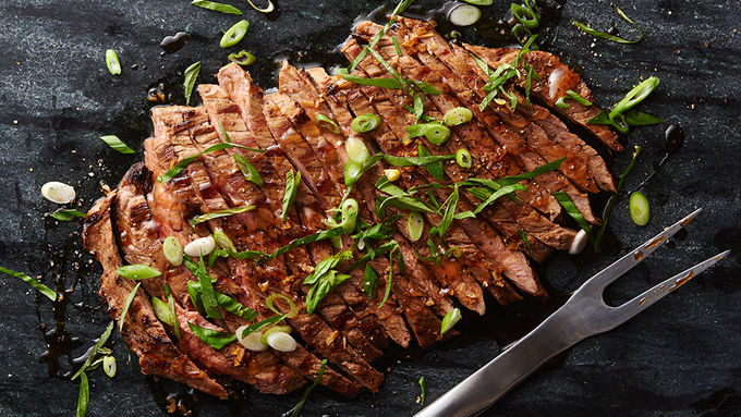 Grilled Flank Steak with Maple Soy Glaze