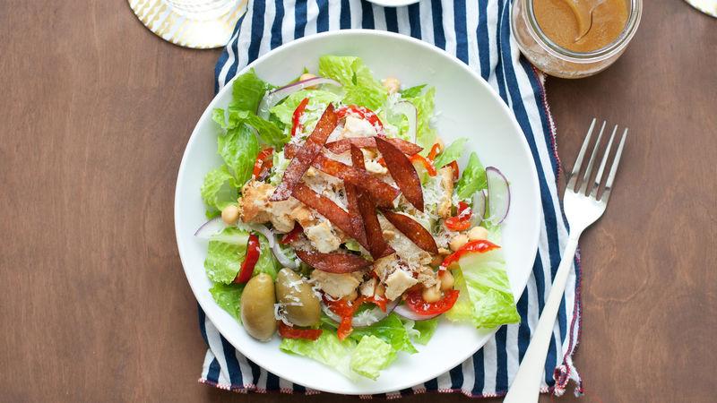 Italian Chopped Salad with Salami Crisps