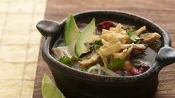 Tortilla Soup with Baked Tortilla Strips
