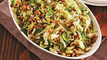 Caramelized Onion-Pecan Brussels Sprouts