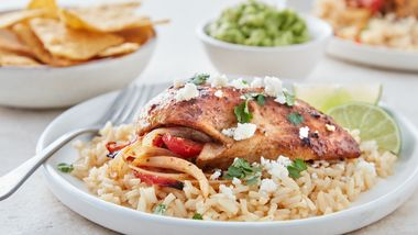 Fajita-Stuffed Chicken and Rice Skillet (Cooking for 2)