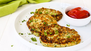 Zucchini Fritters with Tomato Sauce