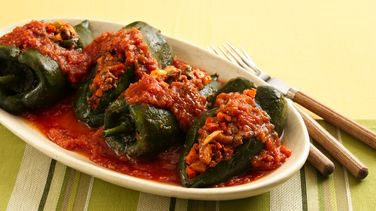 Stuffed Picadillo Poblano Chiles in Tomato Sauce