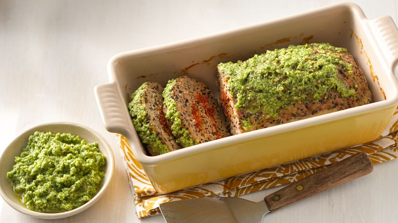Turkey Meatloaf with Broccoli Pesto