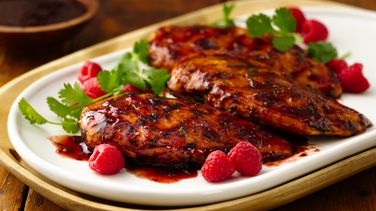 Grilled Chicken with Raspberry-Chipotle Glaze