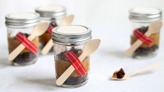 Caramel Fudge Cake in Jars