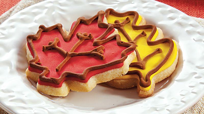 Iced Almond Leaf Cookies