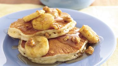 Oatmeal-Brown Sugar Pancakes with Banana-Walnut Syrup