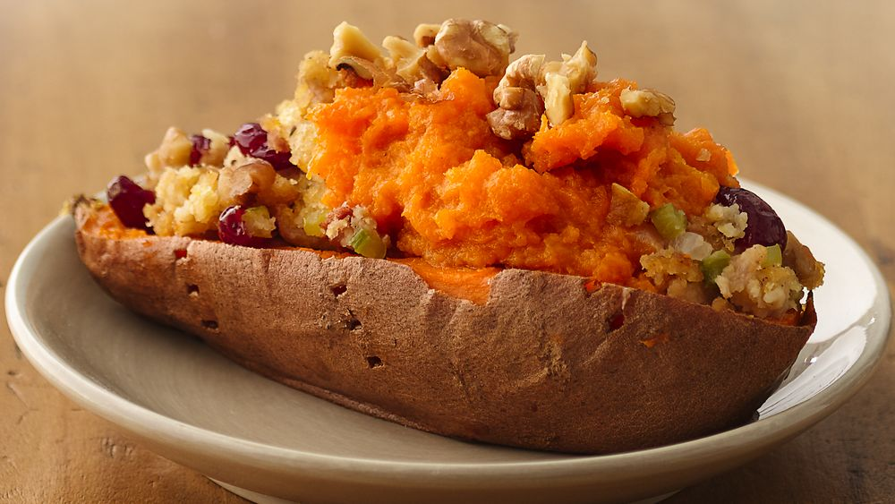 Cornbread and Bacon Stuffing in Sweet Potato Boats