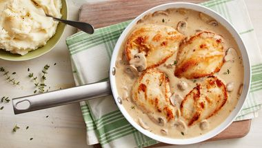Skillet Chicken with Roasted Garlic and Mushroom Gravy