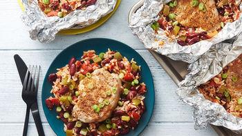 Cajun Pork Chop, Red Beans and Rice Foil Packs