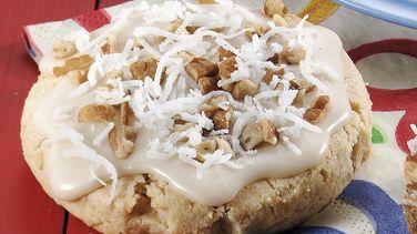 Vanilla-Glazed Pecan Coconut Cookie Scones