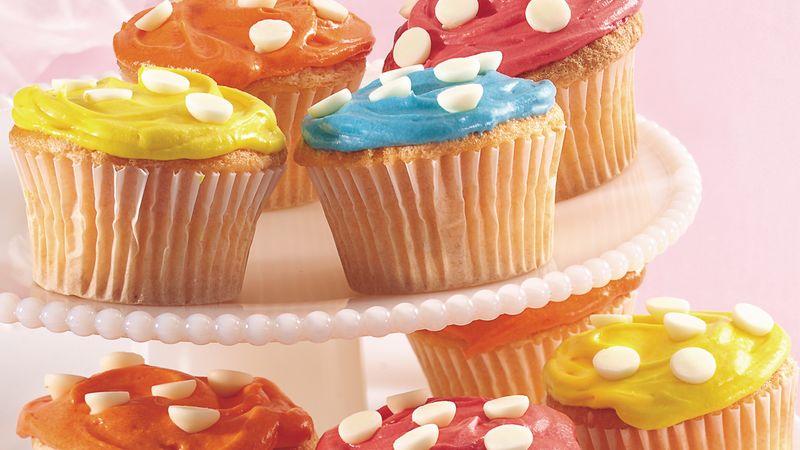 Spring Polka Dot Cupcakes