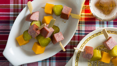 Salami, Cheese and Pickle Kabobs