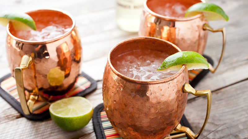 moscow mule in copper mugs recipe from tablespoon. Black Bedroom Furniture Sets. Home Design Ideas
